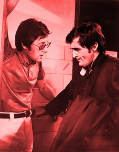 """September 1973 --- 9/1973- Director, William Friedkin(L), discusses a scene with playwright-actor, Jason Miller, on set of the movie """"The Exorcist"""". --- Image by © Bettmann/CORBIS"""